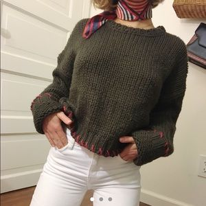 Oversized crew neck knit brown sweater